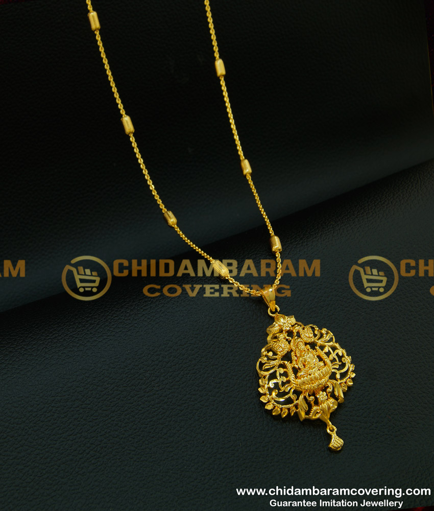 DCHN096 - Female Gold Lakshmi Pendant Designs with Beautiful 24 Inches Chain Imitation Jewellery