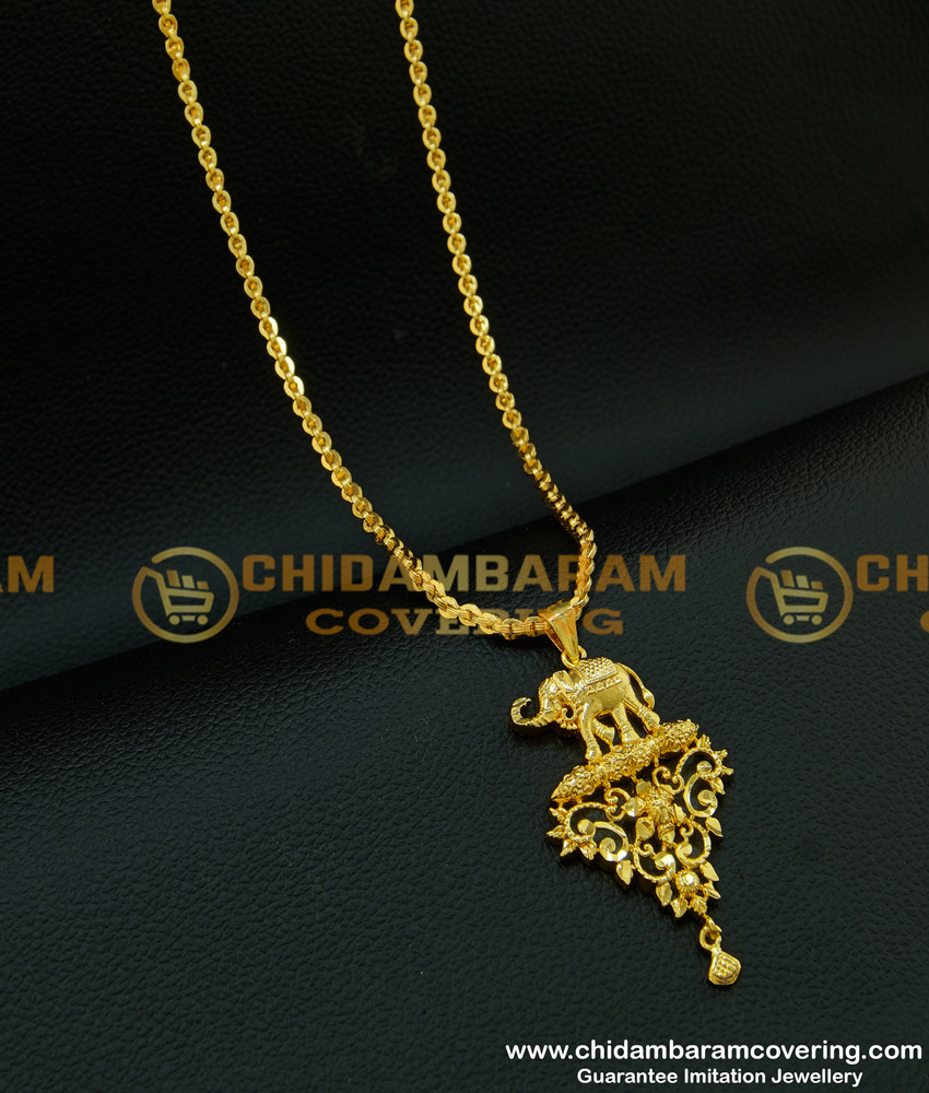 DCHN097 - New Arrival One Gram Gold Designer Elephant Pendant with Chain Buy Online Shopping