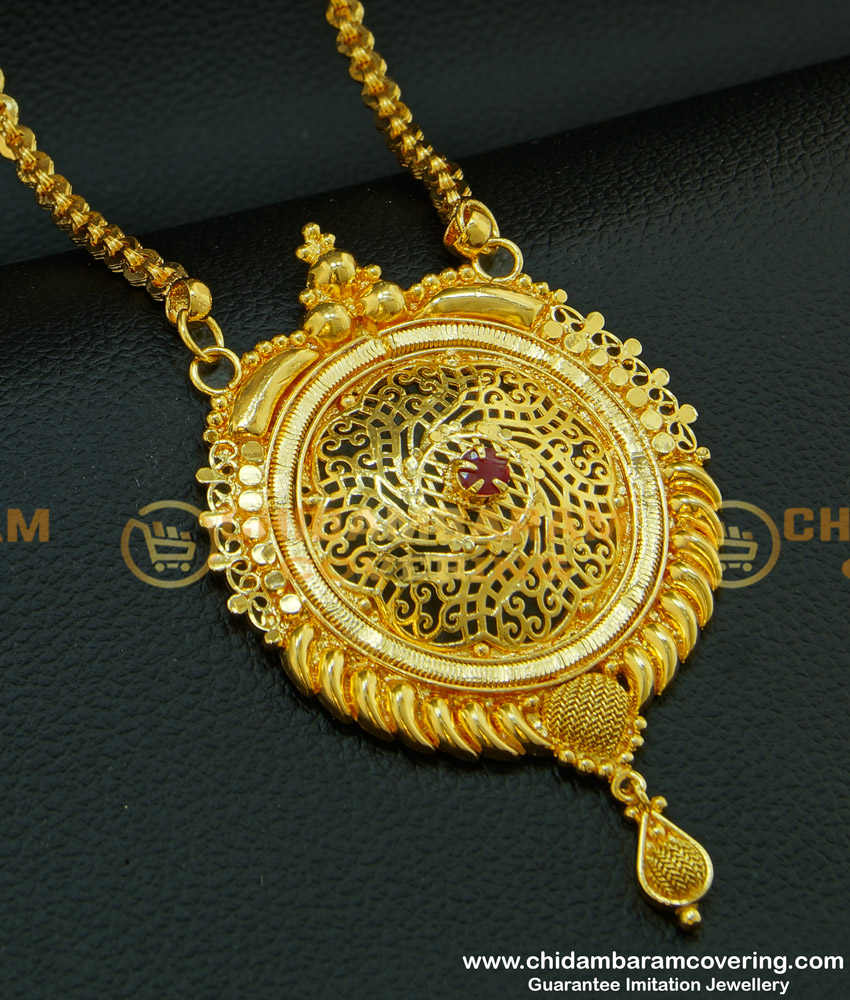 DCHN099 - Gold Design Pendant Ruby Stone Gold Plated Big Dollar with Chain for Wedding