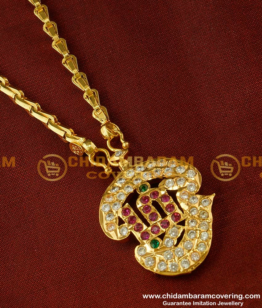 DLR020 - Impon Tamil OM AD Stone Pendant Design with Jasmine Chain Buy Online