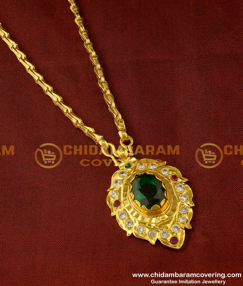 DLR023 - Unique Emerald Stone Dollar Chain One Gram Gold Plated Impon Jewellery Buy Online