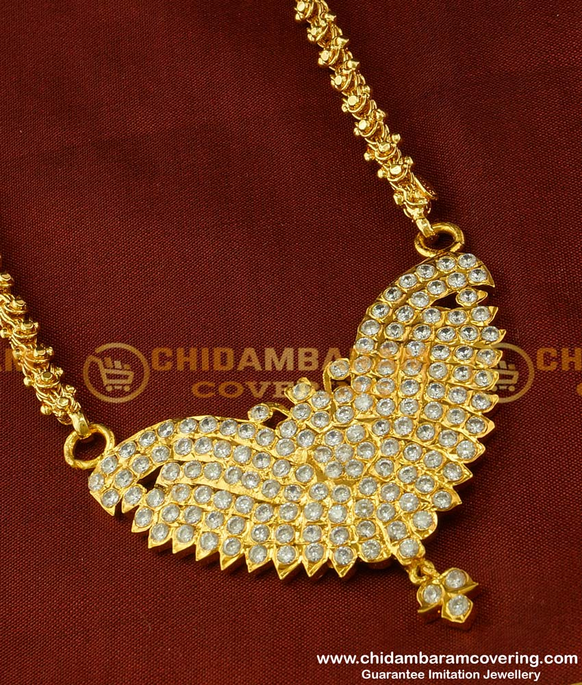 DLR026 - New Impon Handcrafted Full AD White Stone Butterfly Pendant with Dasawatharam Chain Online