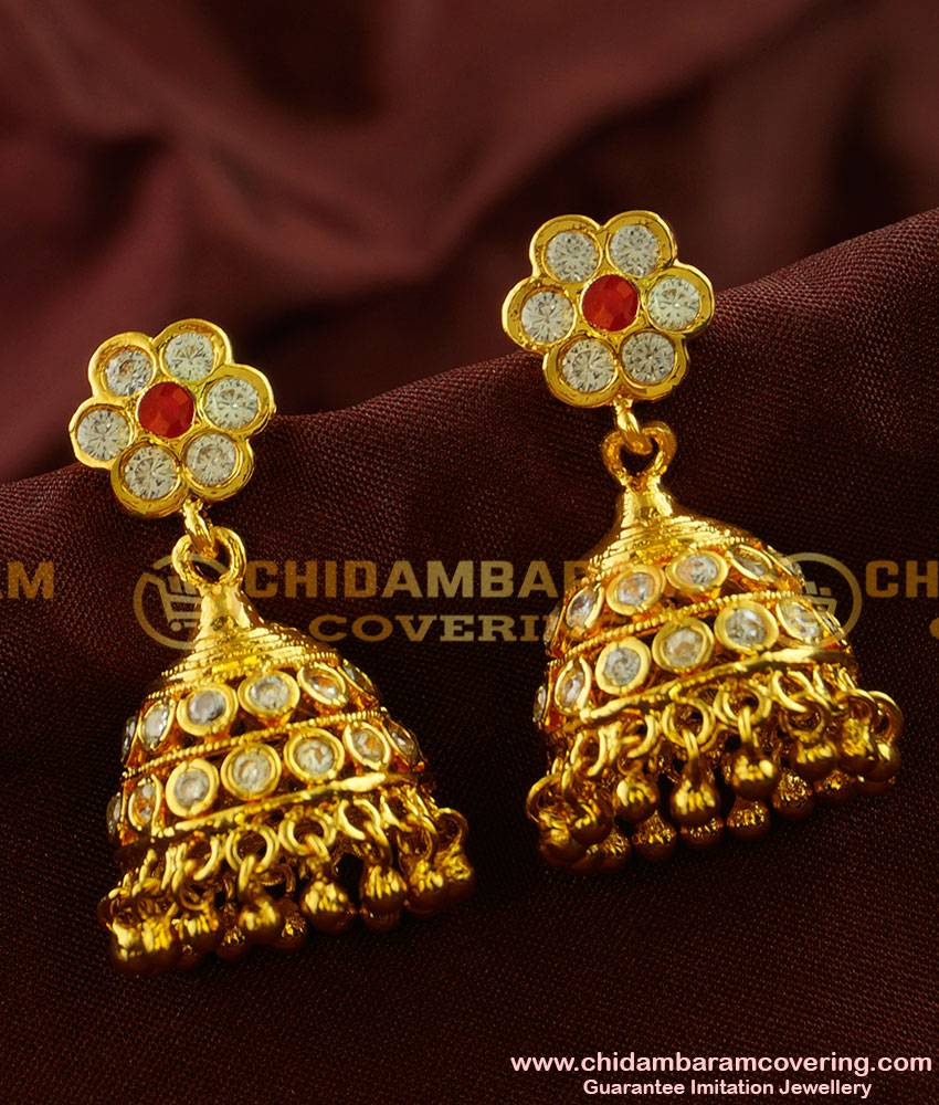 ERG001 - Ayimpon Design Umbrella Type Real Gold Like Guarantee Stone Jhumkhi