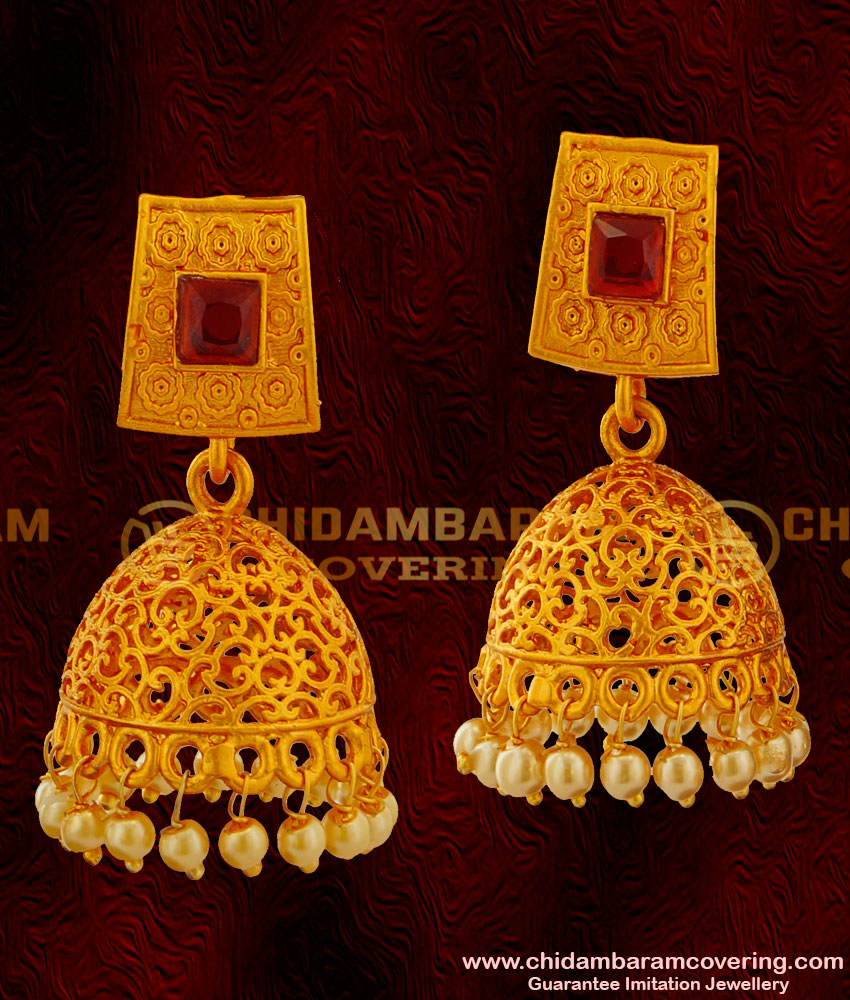 ERG015 - Gold Matte Finish Red Stone Thewa Design Jhumkas Temple Jewellery Buy Online