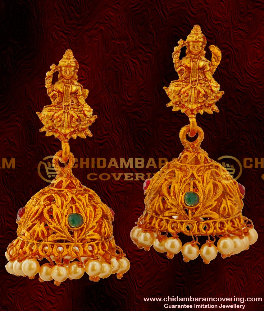 ERG021 – Antique Temple Laxmi God Design Pearl Nagas Matte Finish Jhumka Buy online