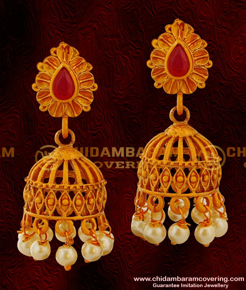 ERG024 – Cage Design Temple Jhumkas with Red Stone Golden Matti Earrings for Women