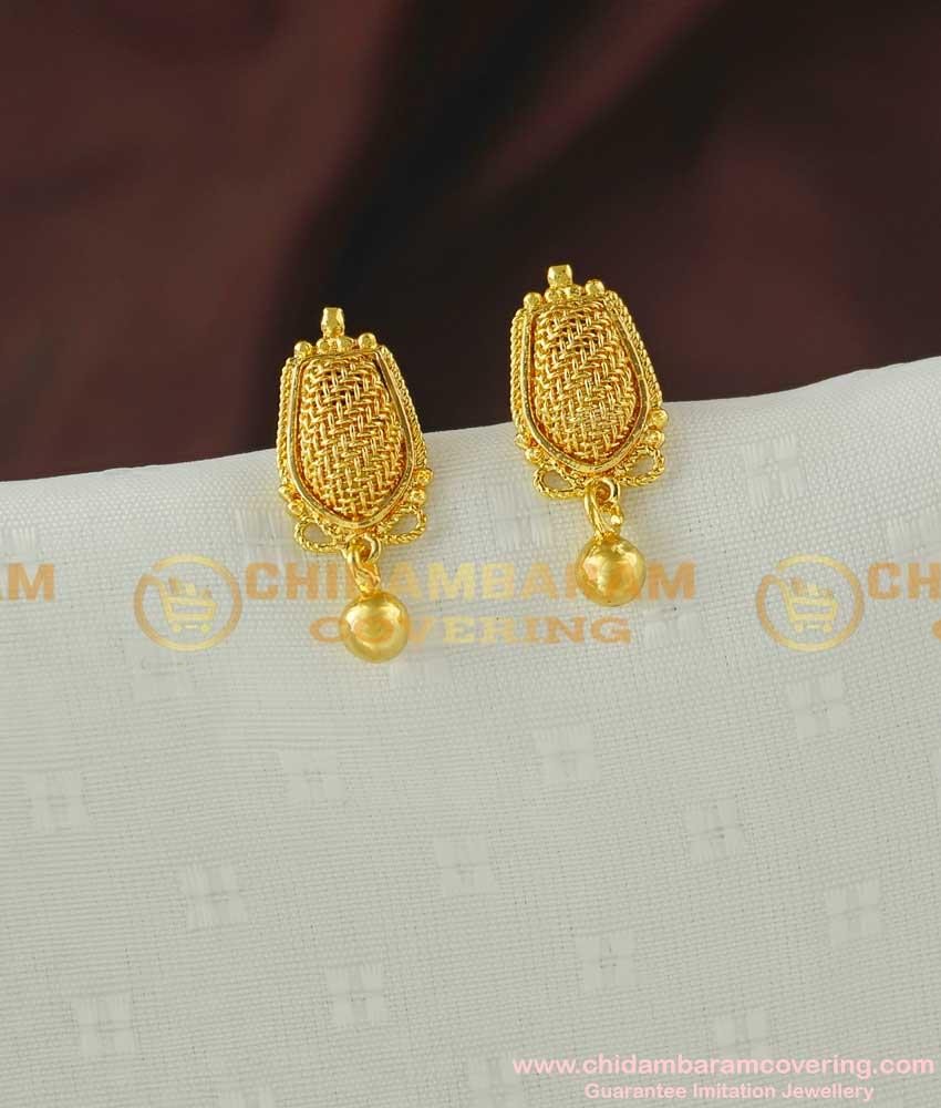ERG069 – One Gram Gold Plated Full Net Design Trendy Kerala Style Earrings Models Online