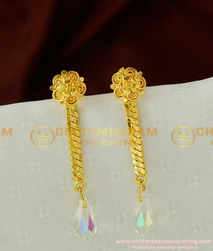 ERG073 –Titanic White Diamond Crystal Hanging Earring Design Gold Plated Jewellery Online