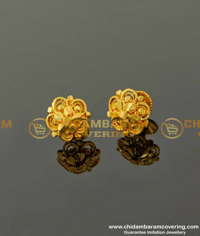 ERG090 – Traditional Five Petal Daily Wear Stud Designs Imitation Earrings