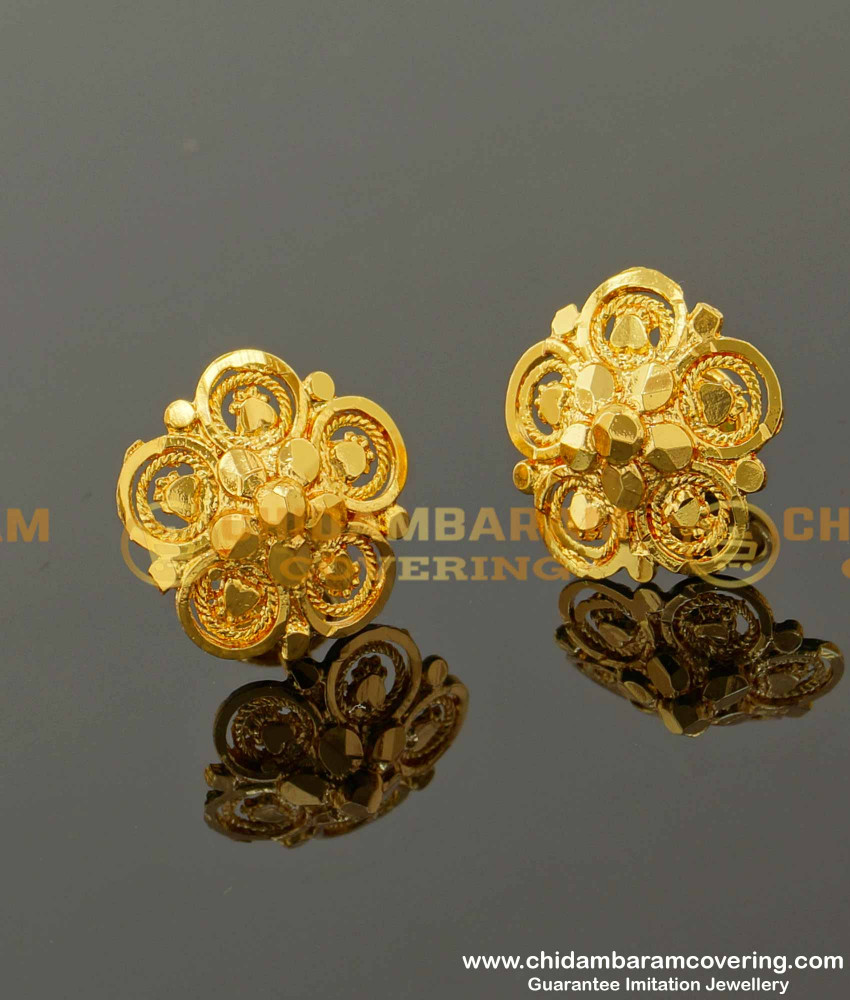 ERG097 – Traditional Big Size Five Petal Daily Wear Stud Designs Imitation Earrings