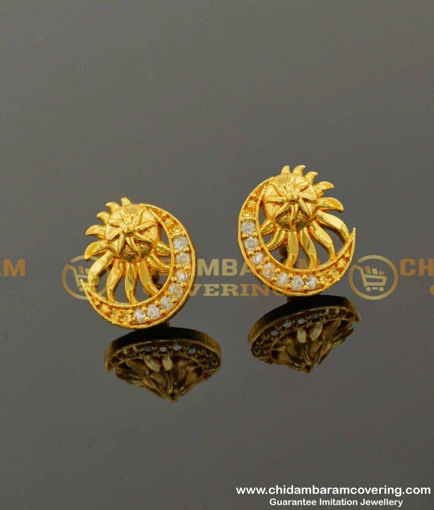 ERG100 - Elegant Fashion White Stone Moon with Sun Combination Designer Earring