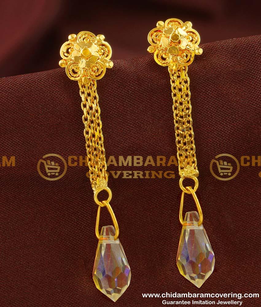 ERG138 - Trendy Stone Drops Dangler Earrings Design for Girls