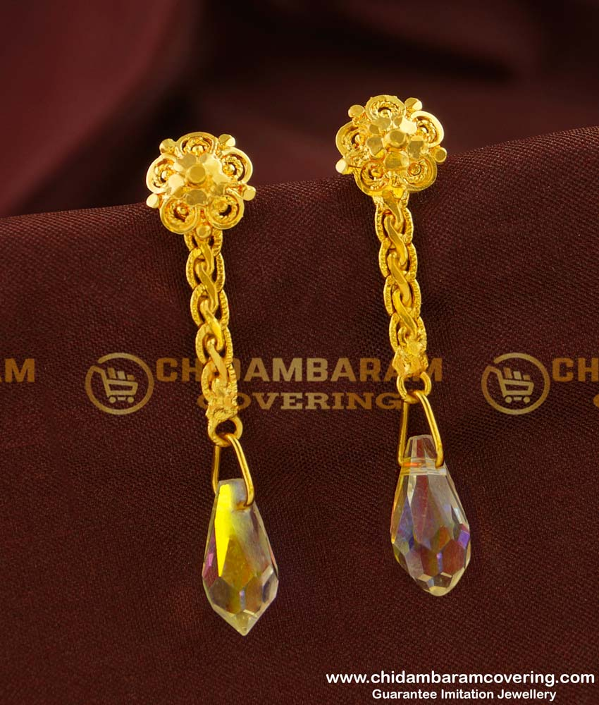 ERG141 - Cute Long Chain with Glass Crystal Earring Party Wear Collection Online