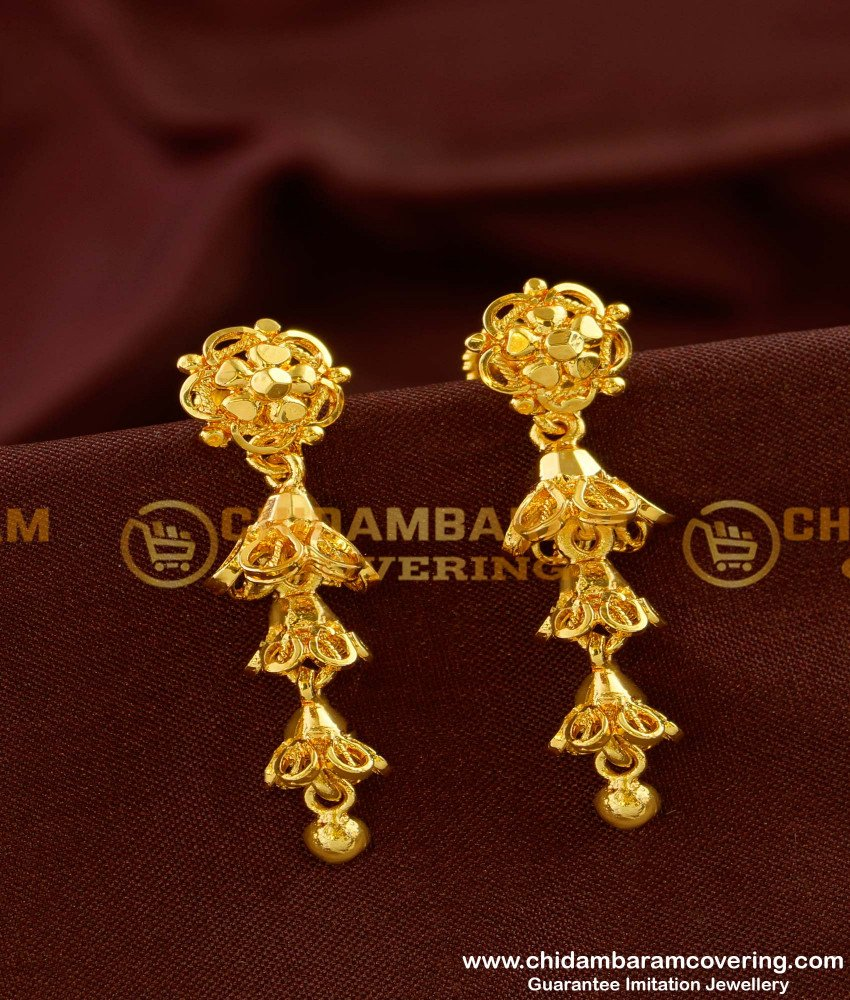 ERG148 - Three Layer Jhumkas Earrings Gold Style Design Online