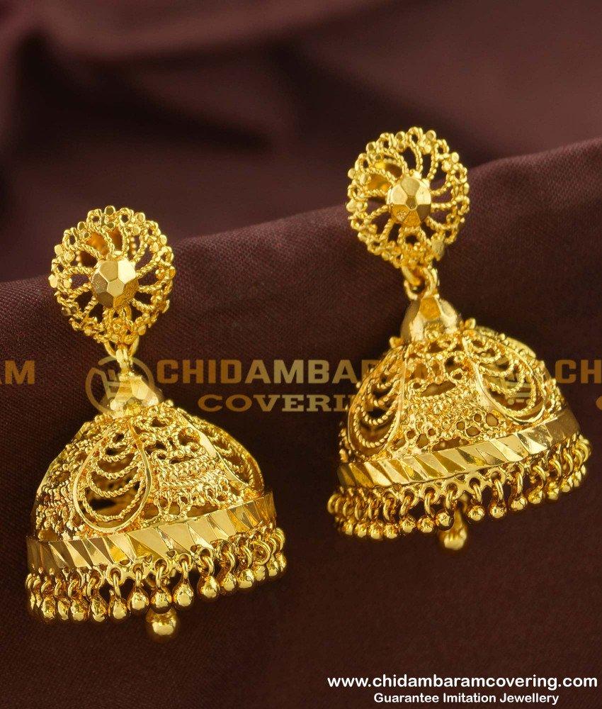 ERG152 - Latest Design Big Jhumka Earrings South Indian Jewels