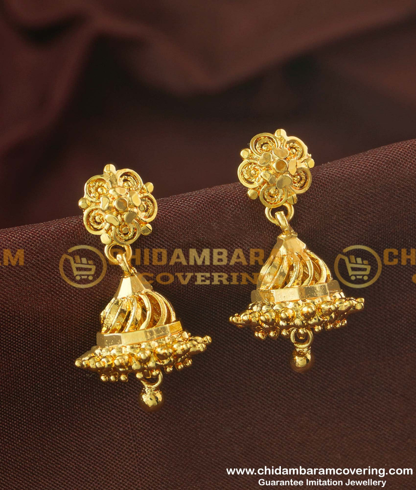 ERG161 - Traditional Gold Plated Jimiki Screw Earrings Design for Women