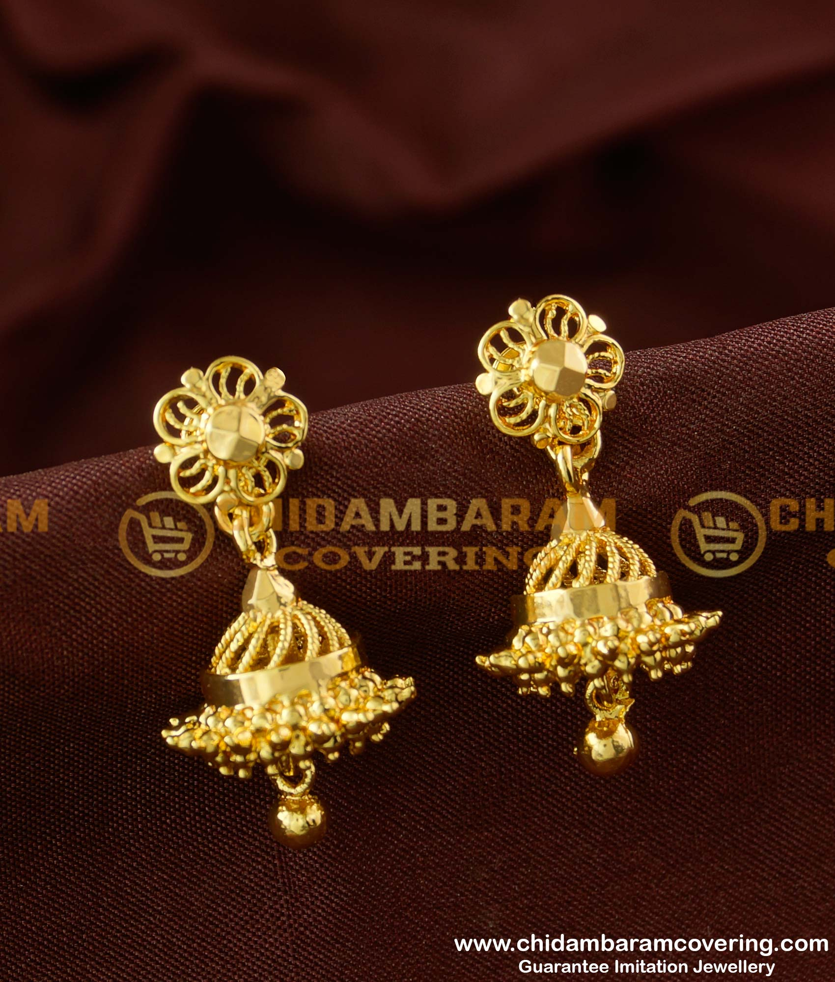 Erg163 Daily Wear One Gram Gold Jhumki Designs For Girls Buy Original Chidambaram Covering Product At Wholesale Price Online Shopping For Guarantee South Indian Gold Plated Jewellery,Gold Chain Designs For Womens With Price