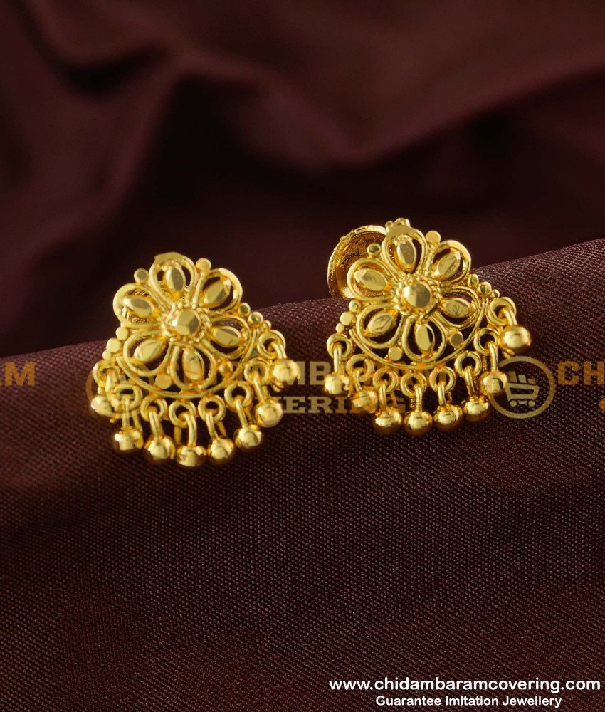 ERG169 - semi precious floral design ear studs for women