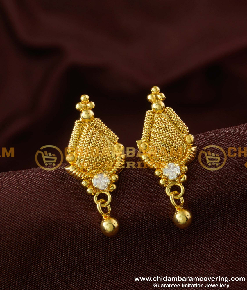 ERG180 - White Stone Simple Look Office Wear Earrings Design Buy Online