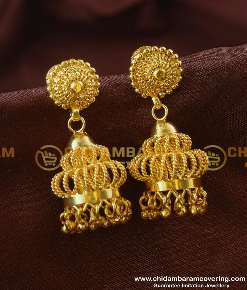 ERG189 - First Quality Fashionable Jhumkas Earing One Gram Gold Jewellery Online