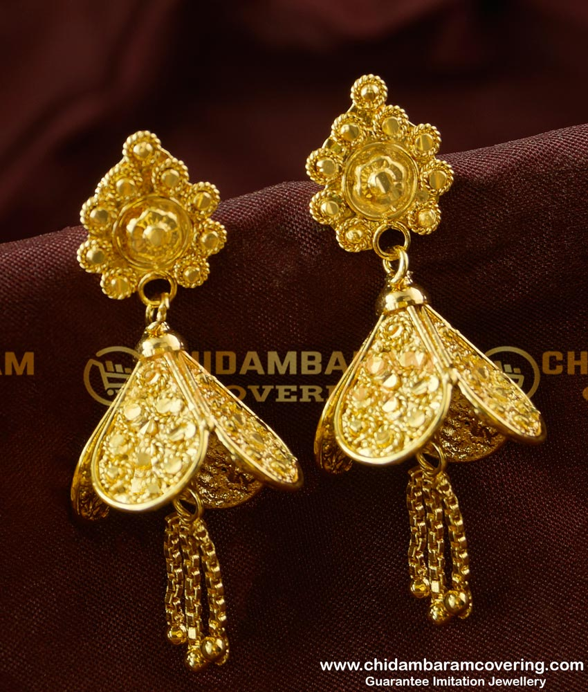 ERG190 - Unique Carved Chain Tassel Jhumkas Earrings for Stylish Women