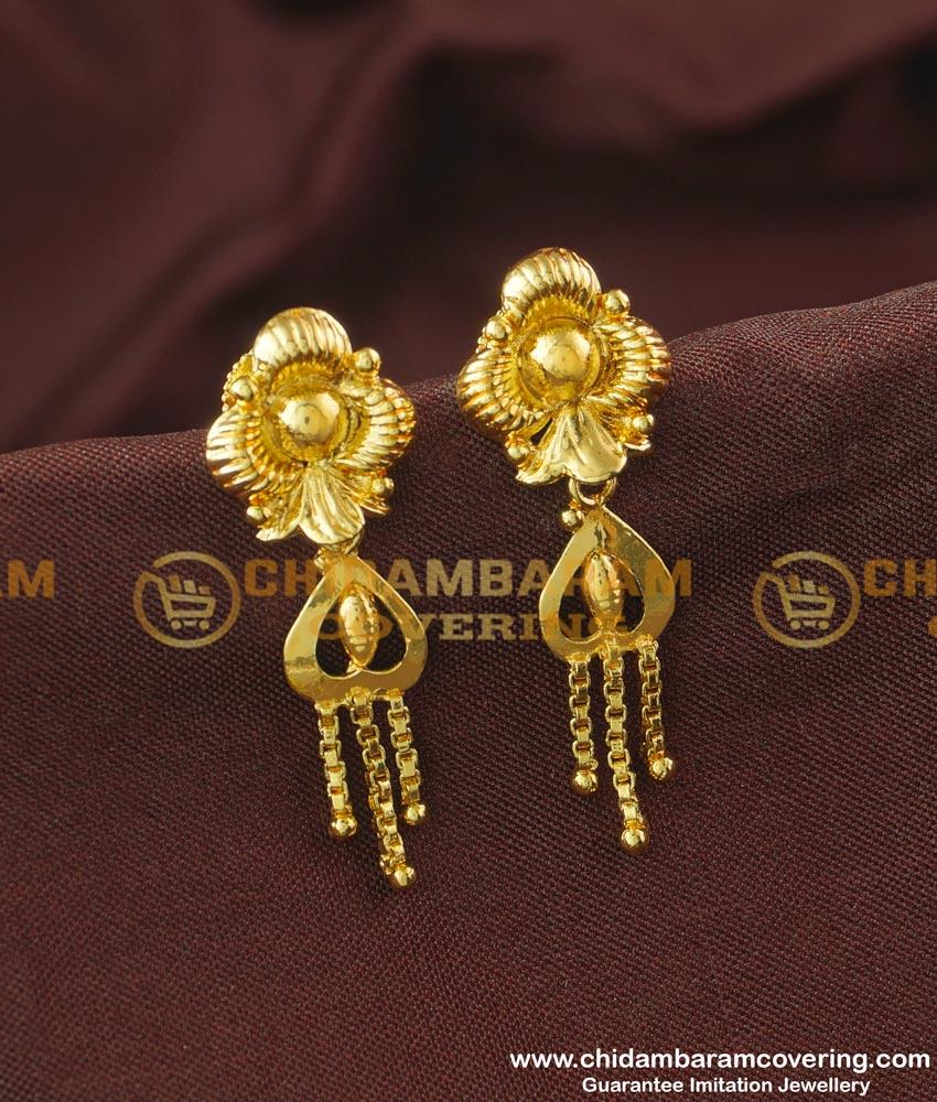 ERG192 - Buy Floral Design Gold Finish Party Wear Earrings Design for Girls