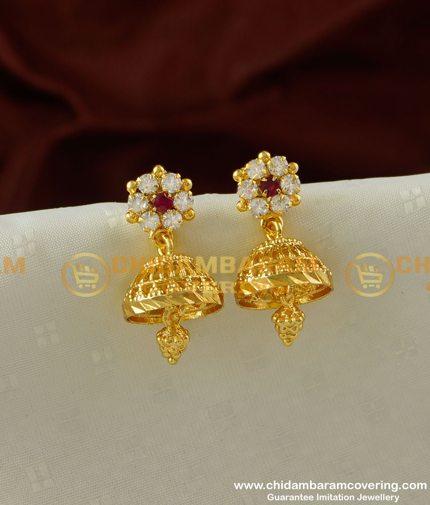 ERG221 - New Arrival Gold Design Stone Jhumka Earing One Gram Gold Jewellery