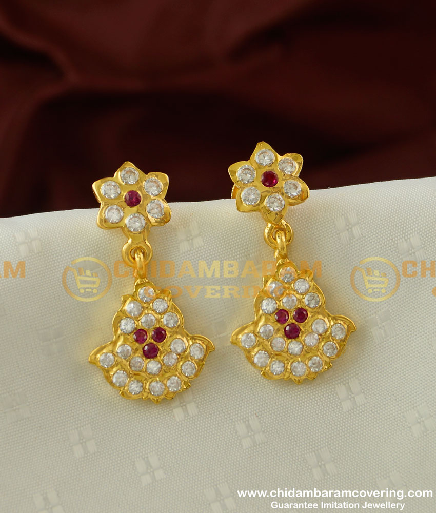 ERG225 - Impon Gold Design Stone Danglers  High Quality Impon Earrings Online