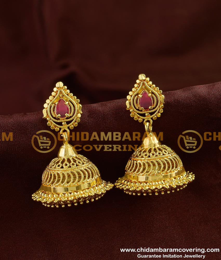 ERG246 - Real Gold Design Kerala Style Jhumka One Gram Gold Jewelry Online