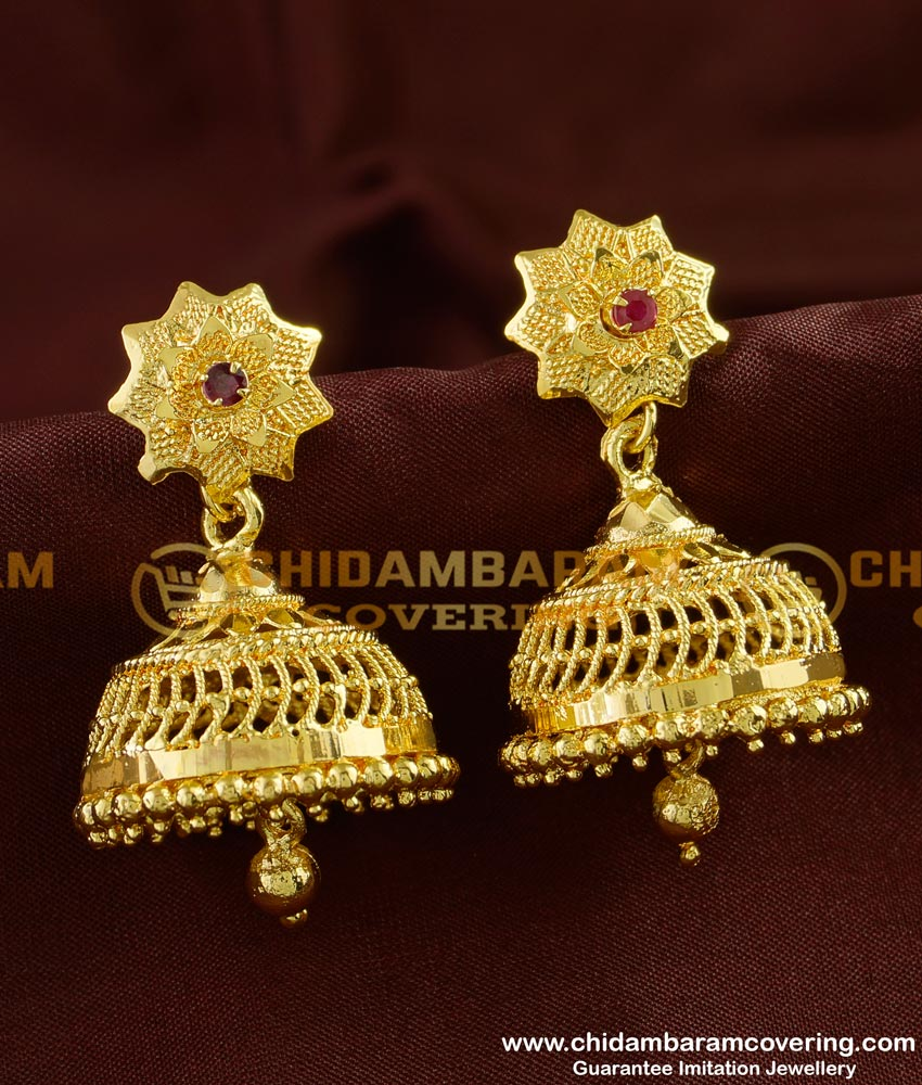ERG248 - Traditional Wear New Jhumkas Design Gold Guarantee Jhumkas Online