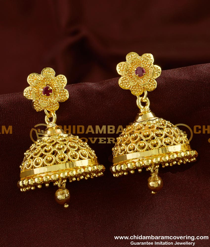 ERG249 - Beautiful Bridal Wear Red Stone Big Jhumka Gold Design Online