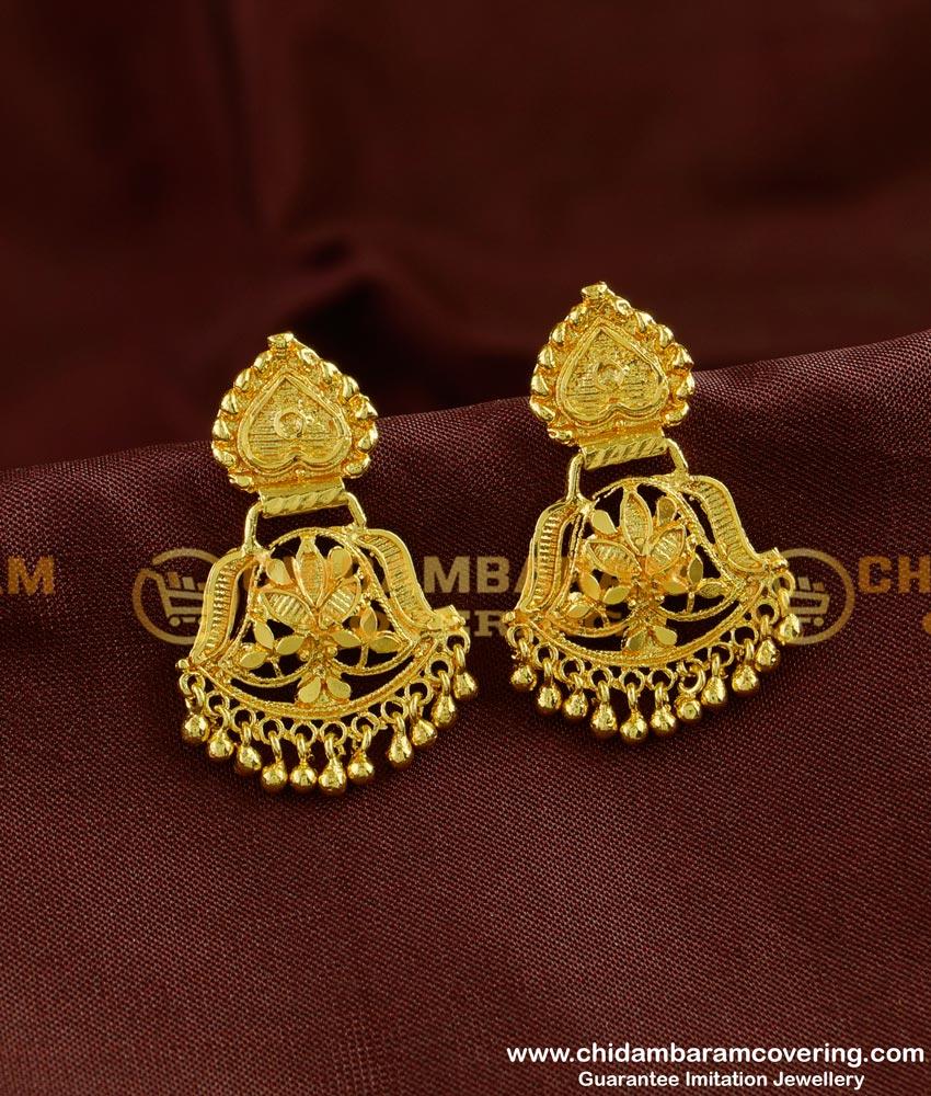 ERG255 - Real Gold Design Dangler Earring Gold Plated Dangler Online