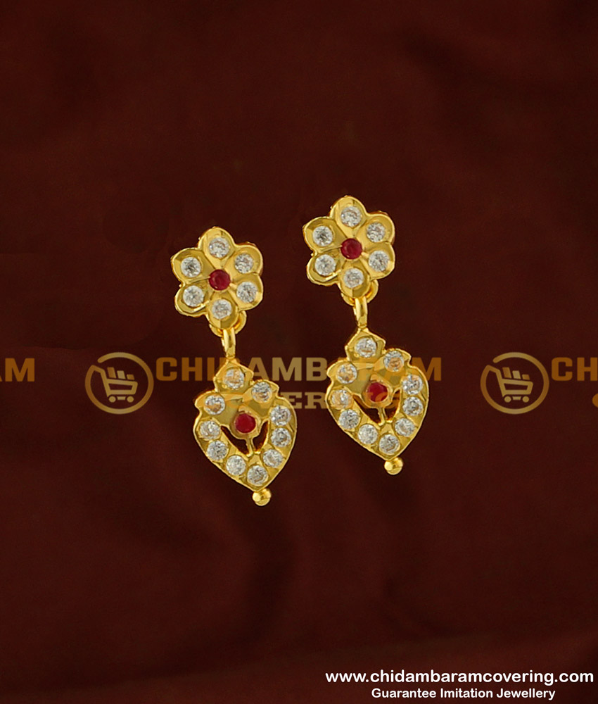 ERG272 - Impon Gold Design Stone Danglers High Quality Impon Earrings Buy Online