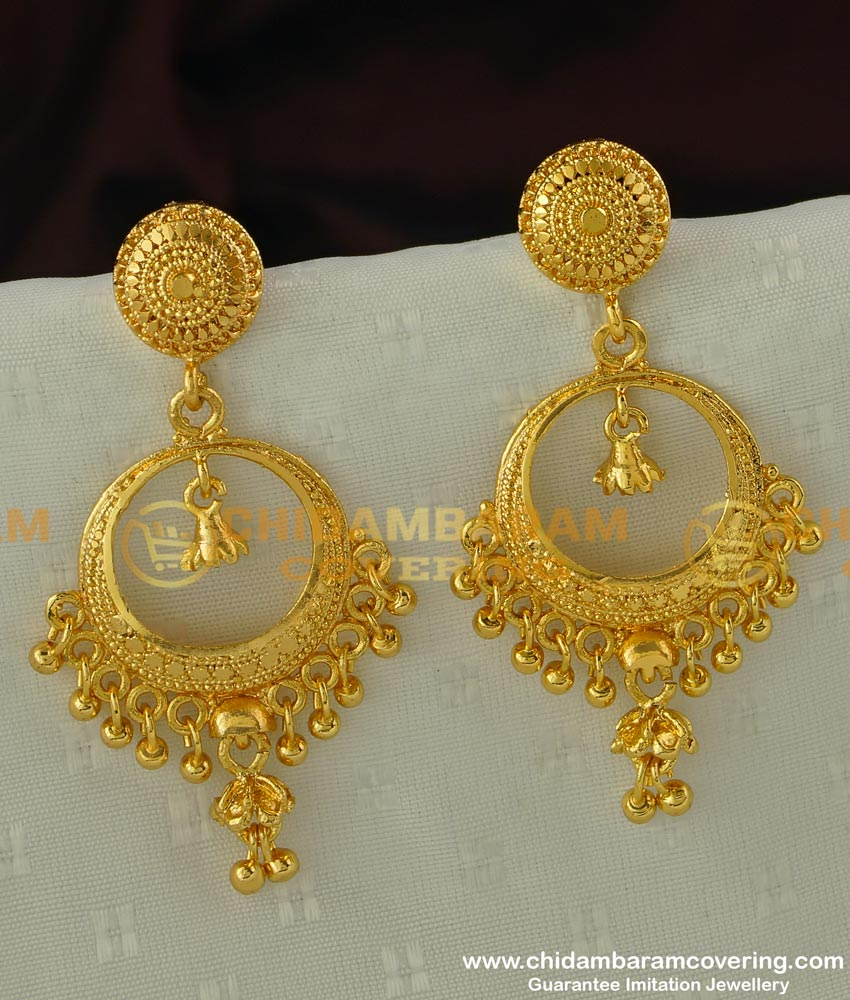 ERG293 - Attractive Gold Drop Round Chandbali Plain Earrings Gold Plated Earrings Online