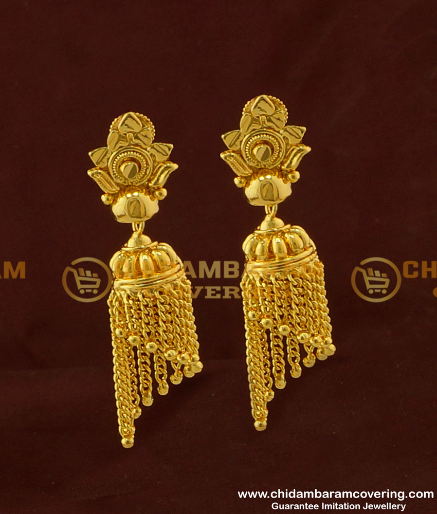 ERG296 - First Quality Gold Design Hanging Chain Jhumka Earing One Gram Gold Jewellery