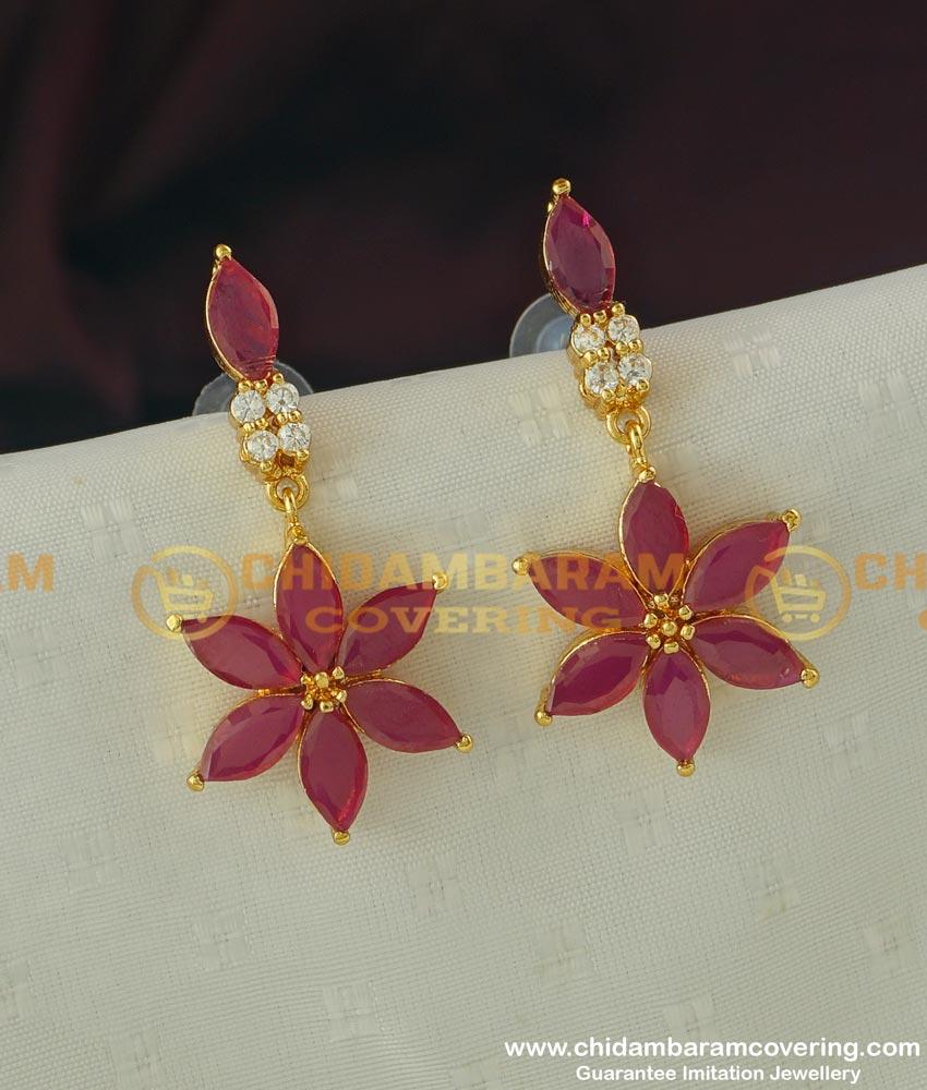 ERG307 - Elegant Gold Finish Ruby Stone Flower Design Earring Design Buy Online