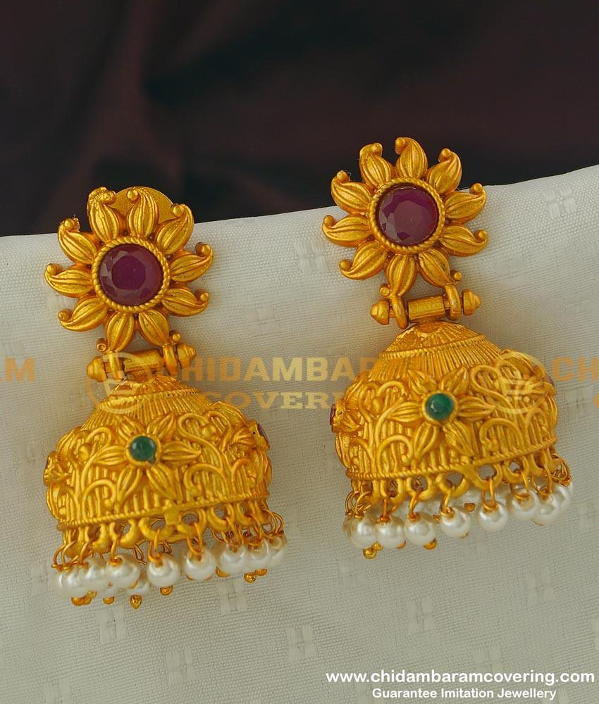 ERG312 - Temple Jewellery Premium Quality Matte Finish Earrings Temple Jhumkas Online Shopping