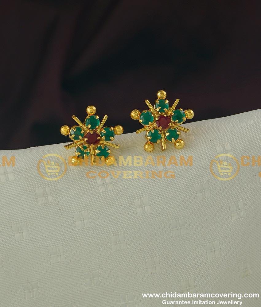 ERG316 - One Gram Gold Ruby Emerald Stone Stud Earrings Design Buy Online