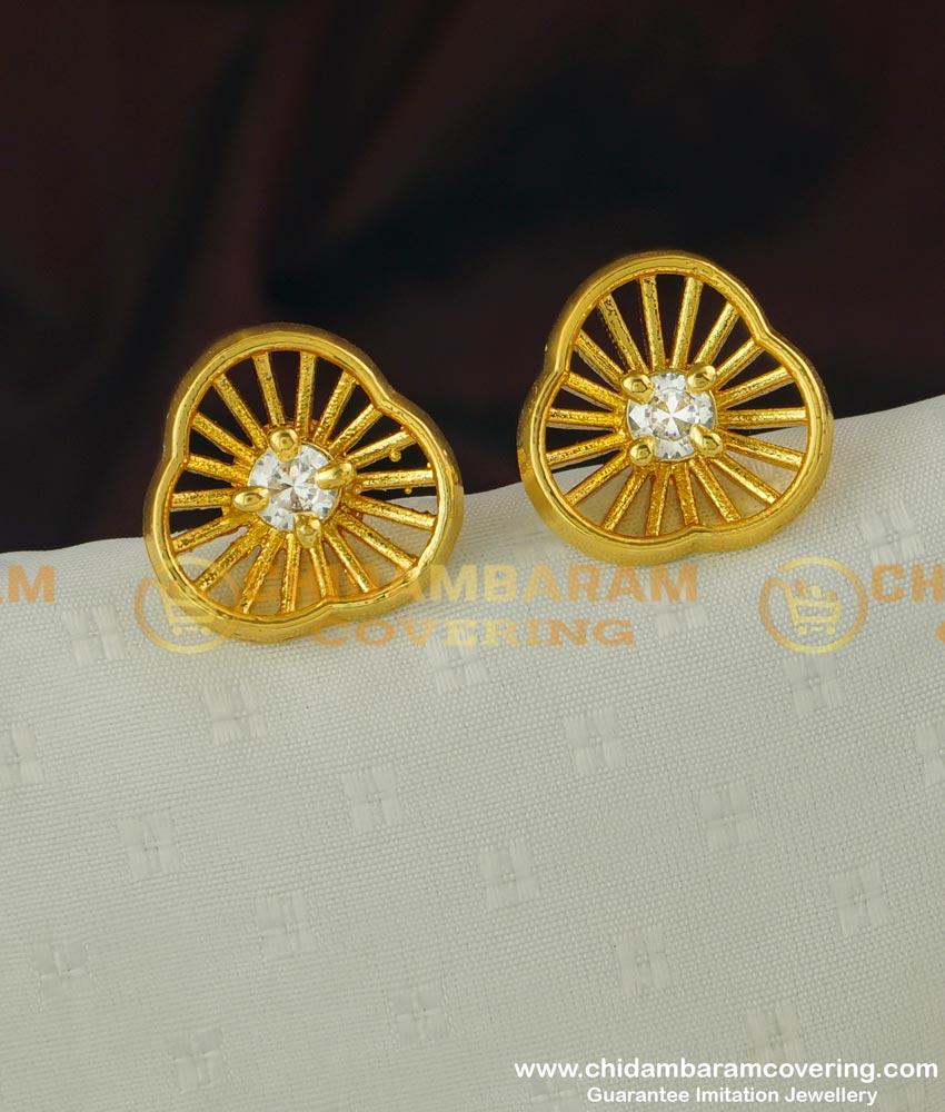 ERG318 - Fashionable American Diamond Floral Design One Gram Gold Stud Online