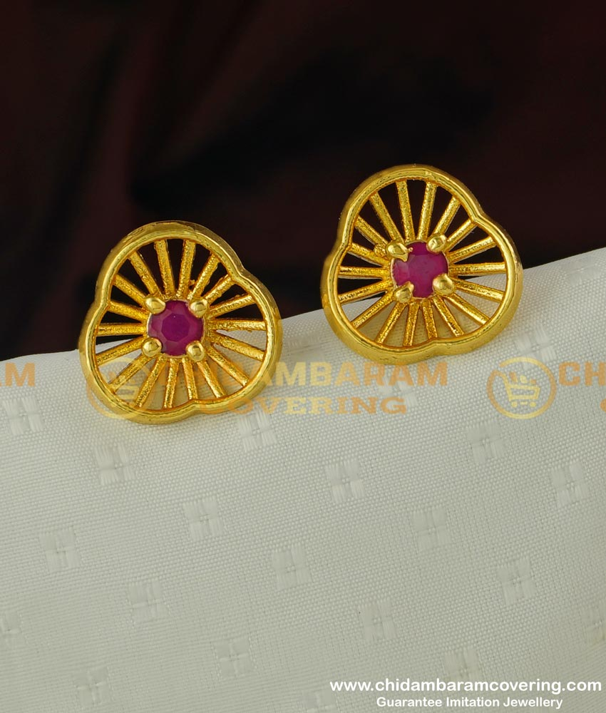ERG319 - Stylish Floral Design Party Wear Ruby Stone Big Earring Stud for Women