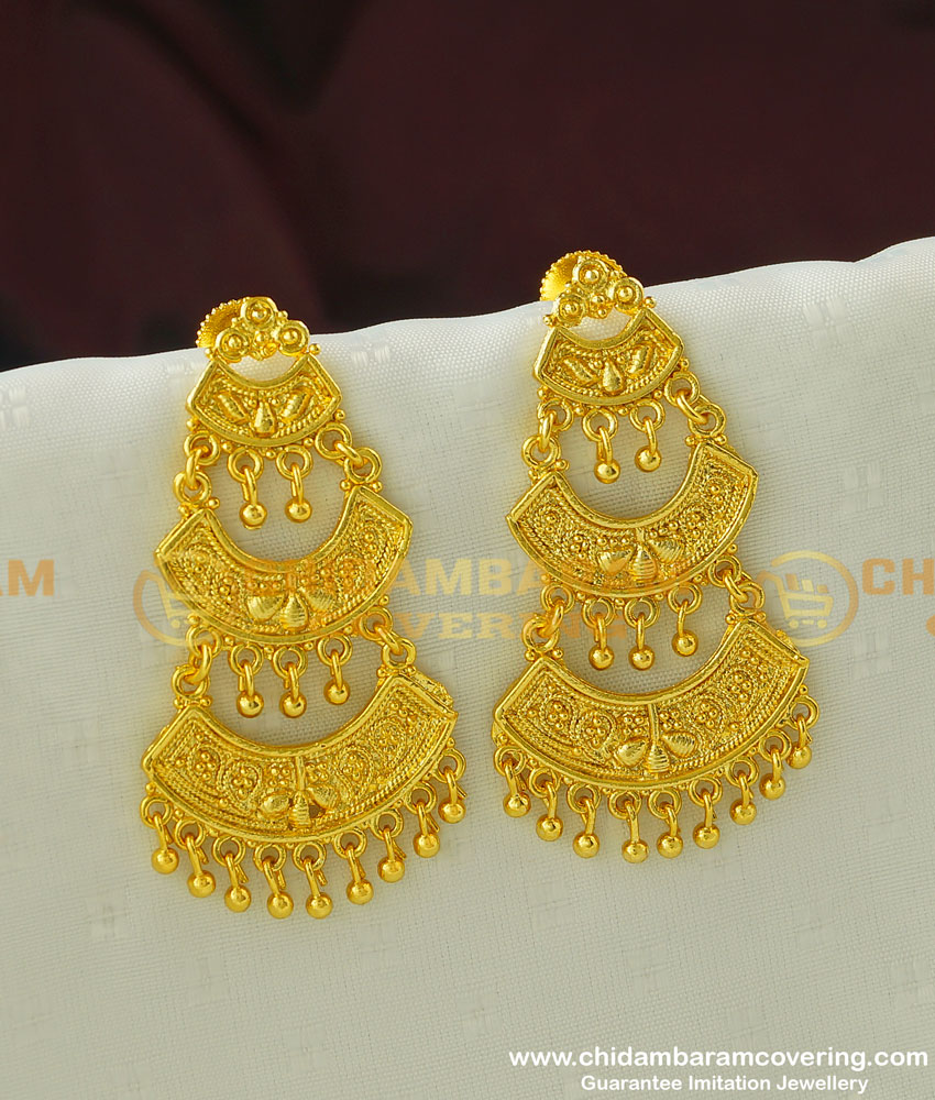 ERG325 - New Gold Finish Forming 3 Layer Long Dangler Earring Buy Indian Jewellery Online