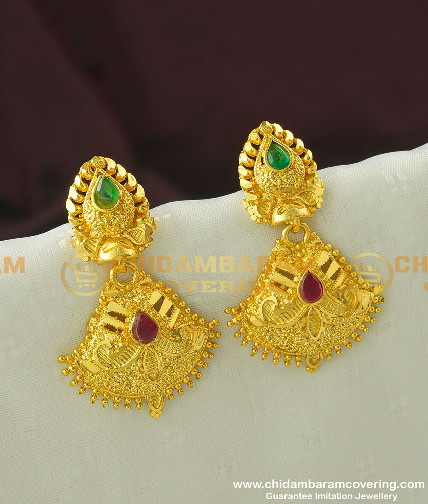 ERG328 - Gold Finish Forming Party Wear Stone Earrings Buy Online