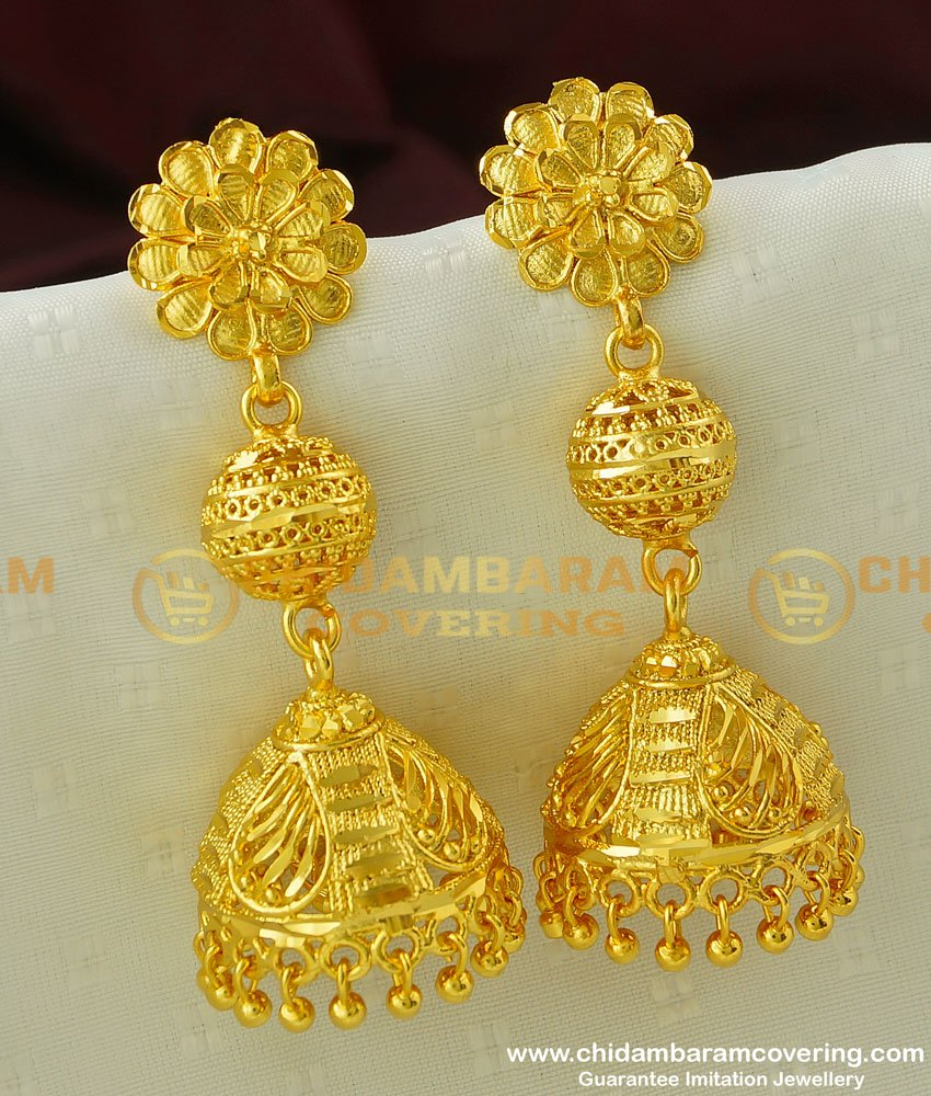 ERG331 - Latest Ball Design Long Size Jhumkas Earring Indian Jewelry Online
