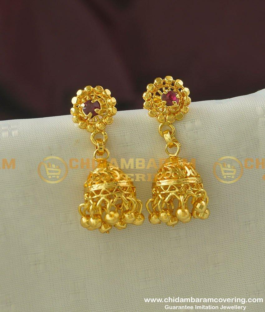 ERG339 - Buy Gold Jhumka Earrings Design One Gram Gold Jhumkas Online