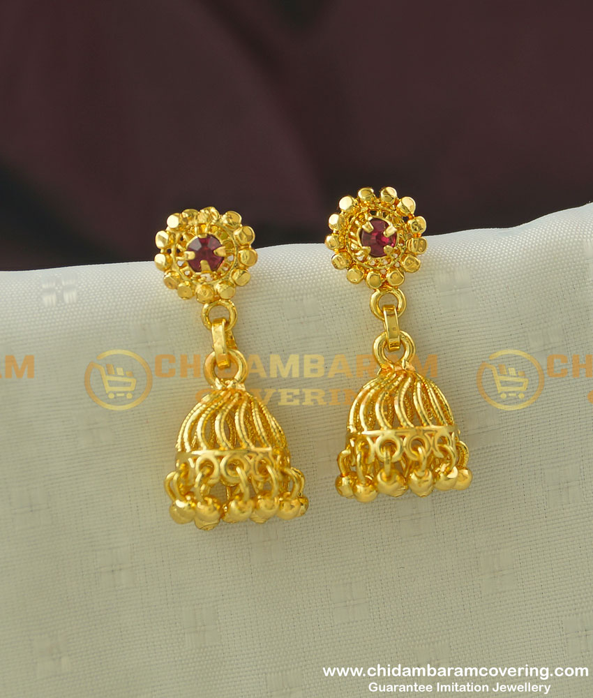 ERG340 - South Indian Style Ruby Stone Jhumka Earring Design Online