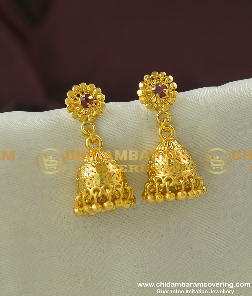 ERG341 - Beautiful Ruby Stone Flower Design Jhumkas Earrings at Low Price