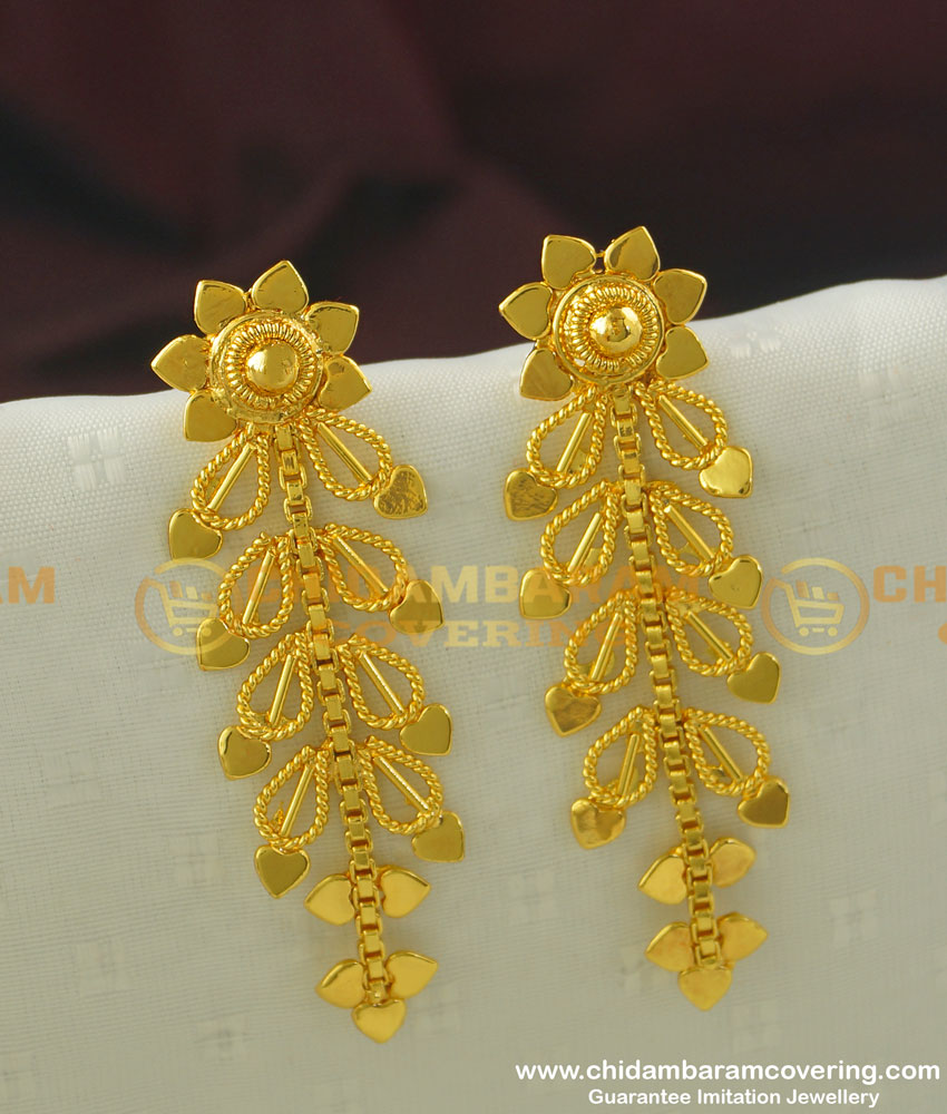 ERG353 - Handmade Modern Hanging Leaf Long Dangle Earrings Design Buy Online