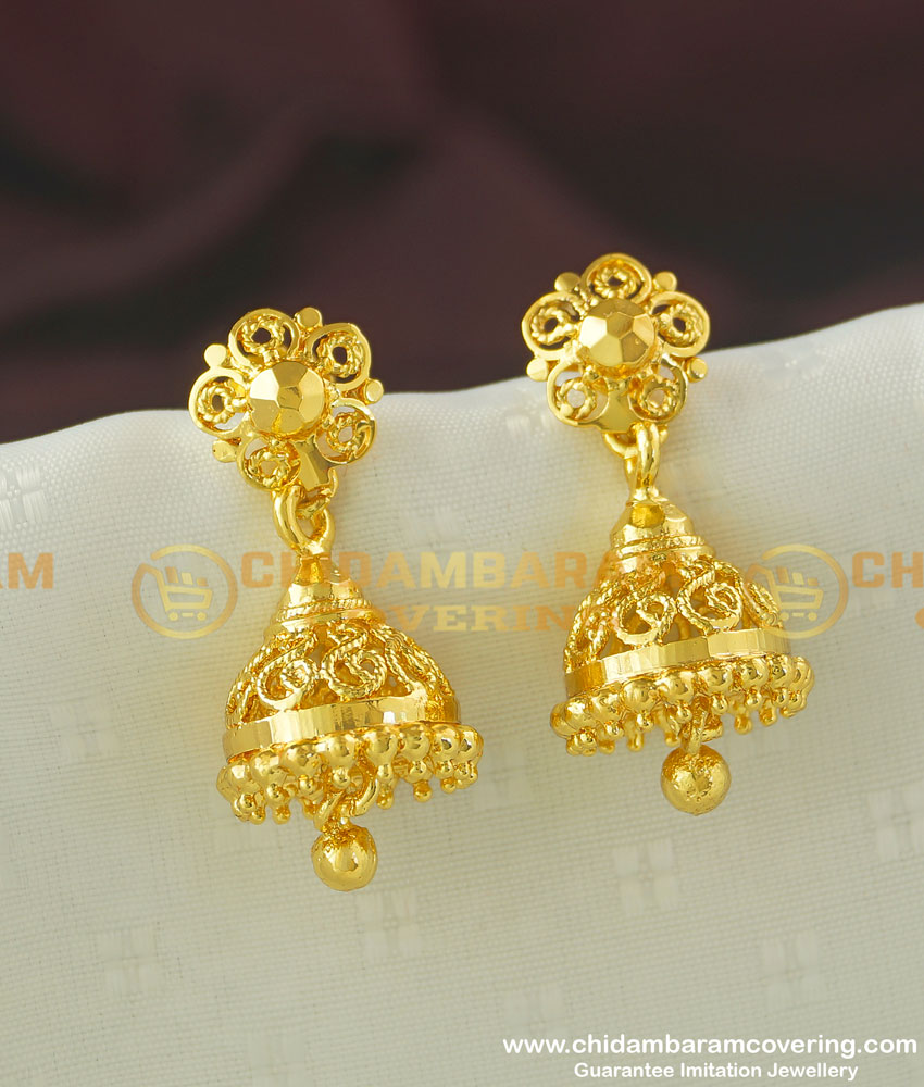 ERG355 - Simple Daily Wear One Gram Gold Jhumkas Designs for Girls