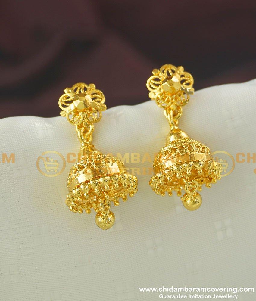 ERG356 - One Gram Gold Daily Wear One Gram Gold Jhumkas Designs Buy Online