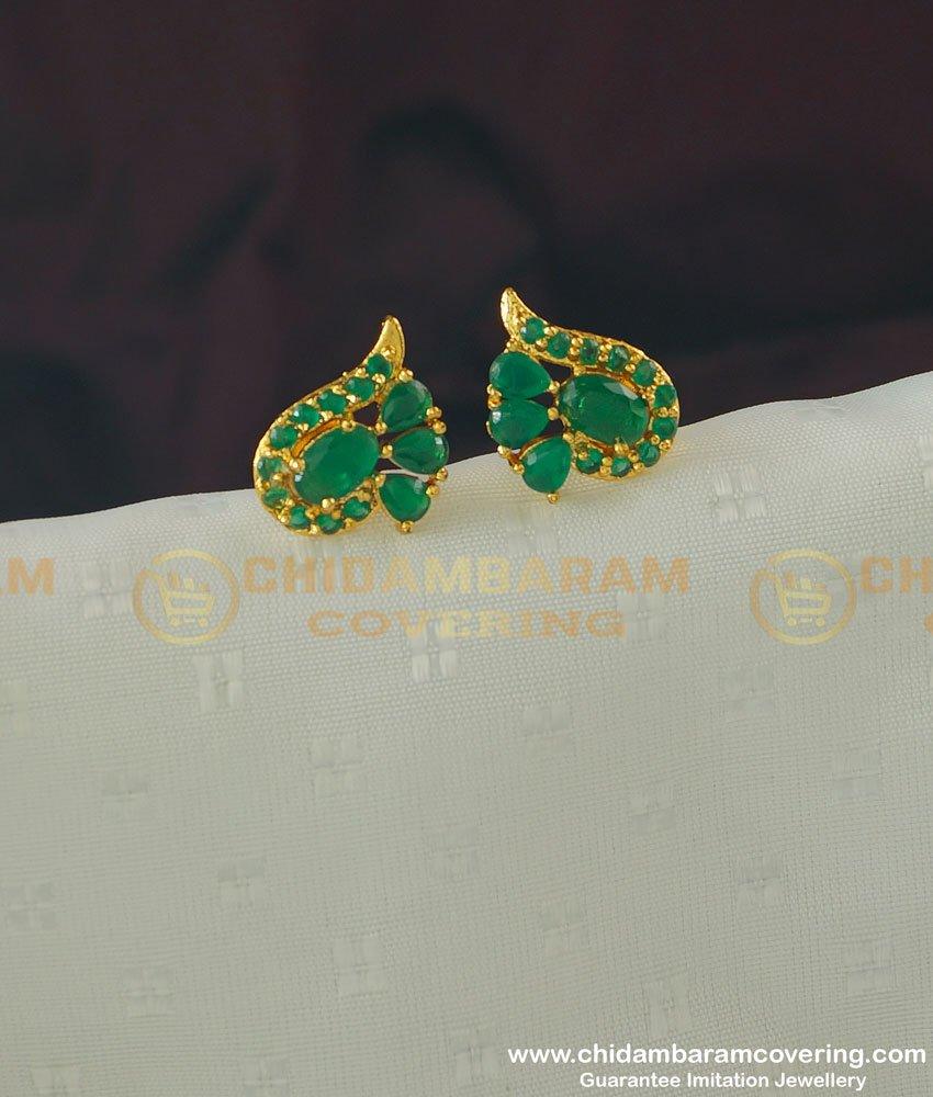 ERG361 - Beautiful Office Wear Full Emerald Stone Stud Earrings Design Buy Online